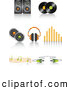 Clip Art of a Set of Speaker, Vinyl Record Discs, Headphones, Volume Equalizer, Music Notes and Cable Icons with Shadows by Elaineitalia