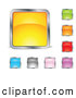 Clip Art of a Set of Yellow, Green, Orange, Red, Purple, Pink, Gray and Blue Squares or Buttons by Beboy