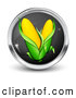 Clip Art of a Shiny Black and Chrome Internet Button with Two Ears of Corn by Beboy