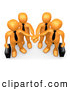 Clip Art of a Team of Four Orange Business People Carrying Briefcases and Standing with Their Hands Piled, Symbolizing Teamwork, Cooperation, Support, Unity and Goals by 3poD