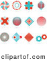 Clip Art of a Unique Set of 12 Red and Blue Spiral, Diamond, Globe and Gear Logo Icons over Reflective Surfaces by KJ Pargeter