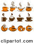 Clip Art of Brown and Orange Coffee Icons by Elena