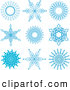 Clip Art of Ornate Blue Snowflake Icons by KJ Pargeter